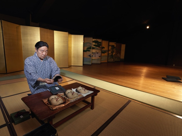 Udaka Michishige preparing his Noh masks. Photograph: Irwin Wong.