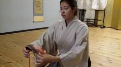 Tina Dermois with the Noh mask Shōjō